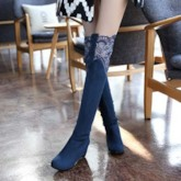Wedge Heel Slip-On Lace Round Toe Over-the-Knee Women's Boots