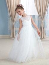 Open Back Lace Tulle Floor-Length Flower Girl Dress
