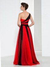 One Shoulder Contrast Color Evening Dress