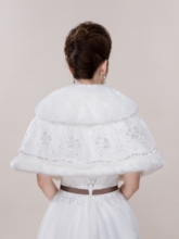 Sequins Lace Bridal Jacket/Shawl with Sash