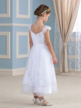 Appliques Lace Scoop Neck Ankle-Length Flower Girl Dress
