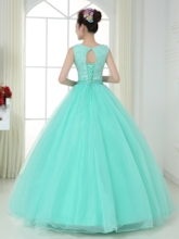 Scoop Neck Bow Beading Lace Quinceanera Dress