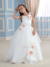 Round Neck Tiered Flowers Girl's Party Dress