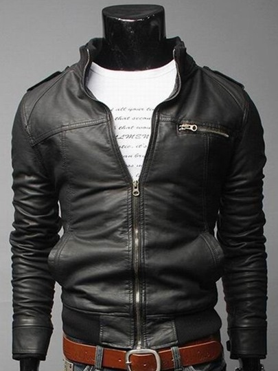 Solid Color Casual Zipper Men's PU Jacket