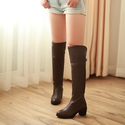 Chunky Heel Round Toe Slip-On Knee-High Women's Boots
