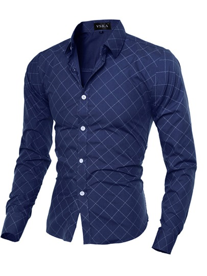 Lapel Middle Plaid Men's Slim Fit Shirt