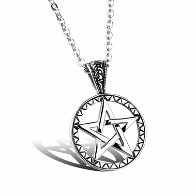 Hollow Out Pentagram Titanium Steel Religion Men's Necklace
