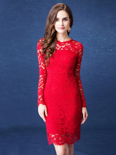 Long Sleeve Sheath Knee-Length Cocktail Dress
