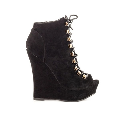 Wedge Heel Platform Side Zipper Rivet Ankle Women's Boots