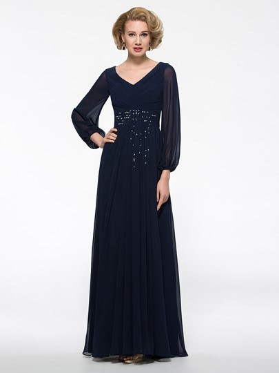 Long Lantern Sleeve Beaded Mother of the Bride Dress