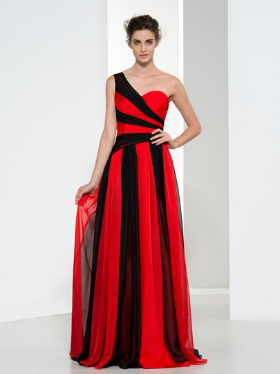 One-Shoulder Contrast Color Long Evening Dress