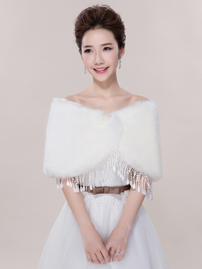 Warm Tassel Faux Fur Wedding Shawl