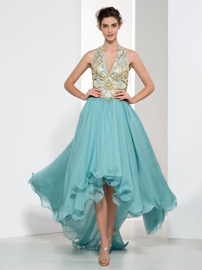 A-Line Halter Beaded Asymmetrical Prom Dress