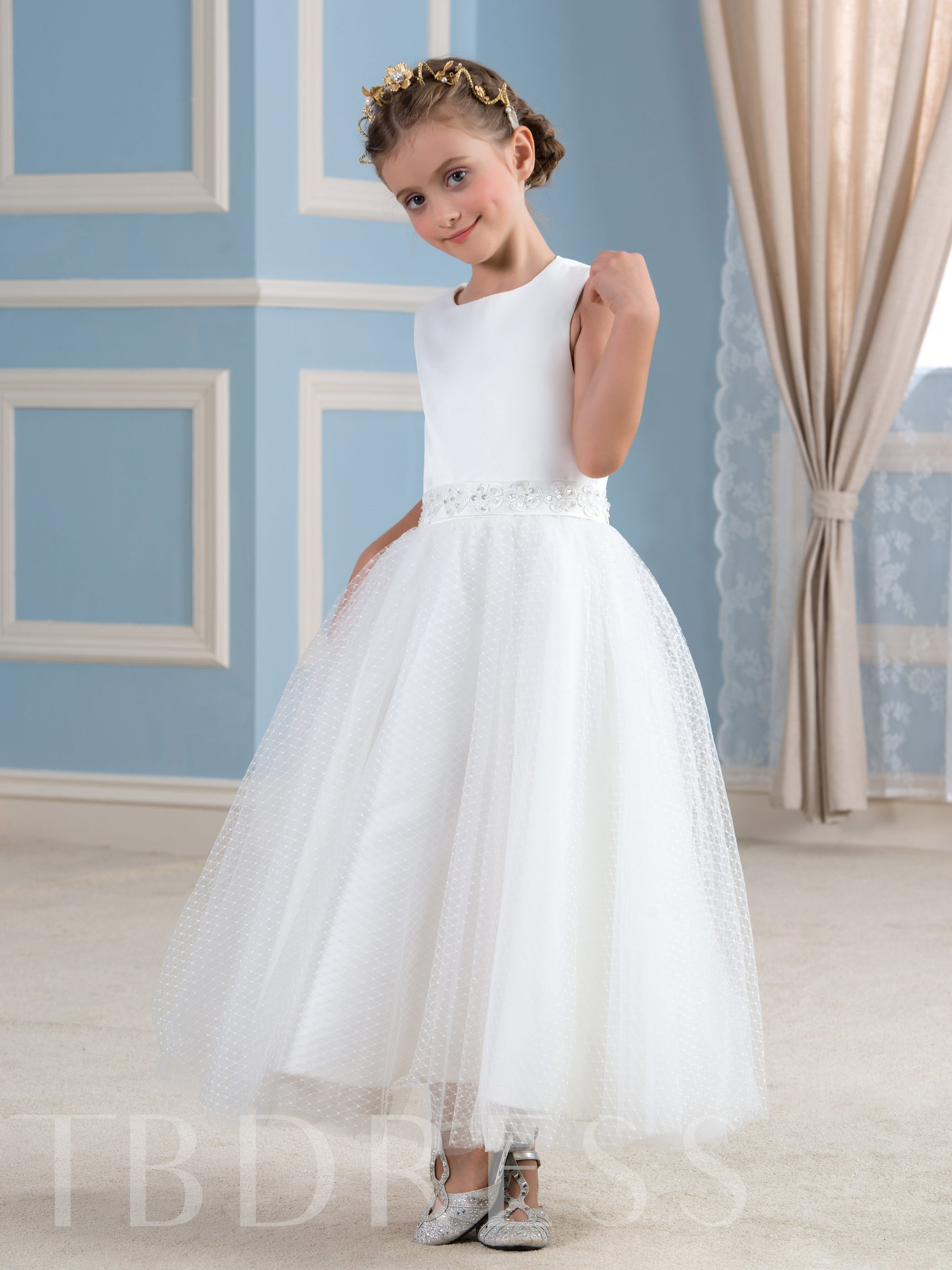 Image of Ankle-Length Jewel Tulle A-Line Flower Girl Dress