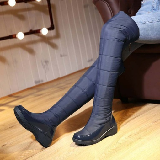 Back Zipper Round Toe Wedge Heel Over-the-Knee Women's Snow Boots
