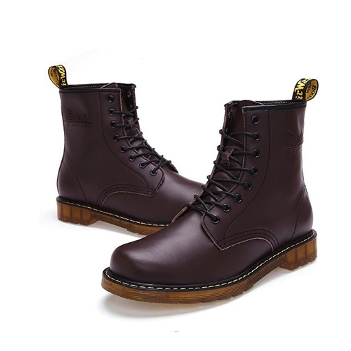 Square Heel Lace-Up Front Plain Round Toe Ankle Men's Boots