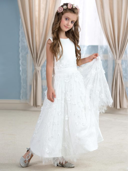 Flowers Lace Ankle-Length Flower Girl Dress