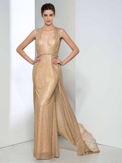 Sheath Sequins Belt Long Evening Dress