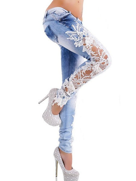 Floral Lace Patchwork Denim Women's Jeans