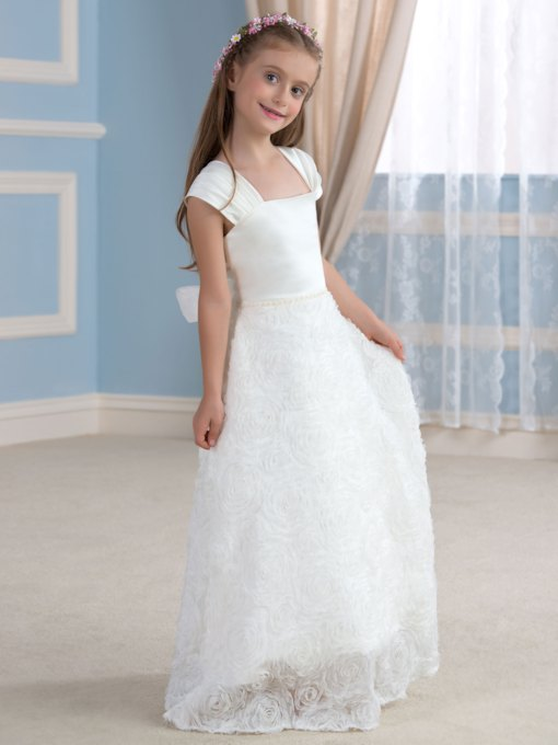 A-Line Floral Square Neck Flower Girl Dress