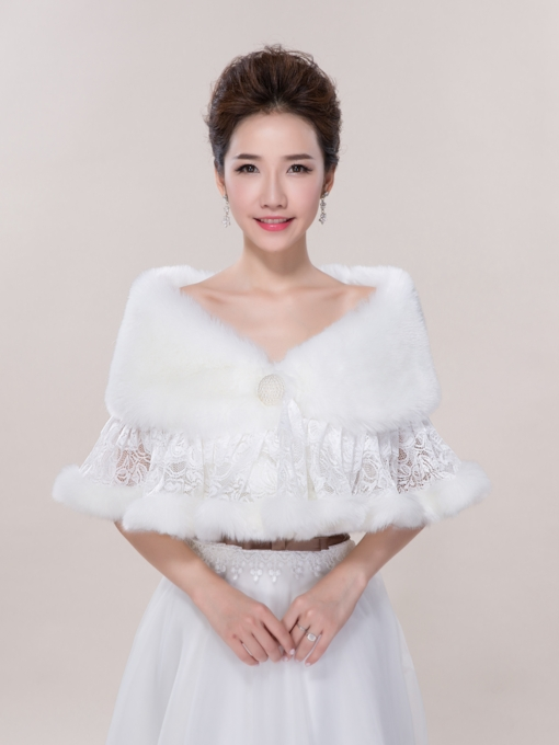 Warm Lace Faux Fur Wedding Jacket