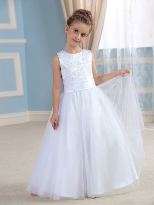 Bow Knot Floor-Length Tulle A-Line Flower Girl Dress