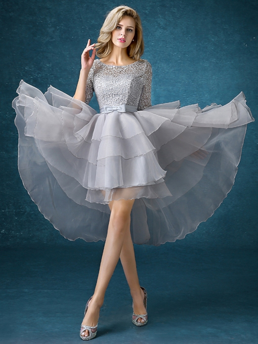 Asymmetry Half Sleeves Lace Organza Bridesmaid Dress