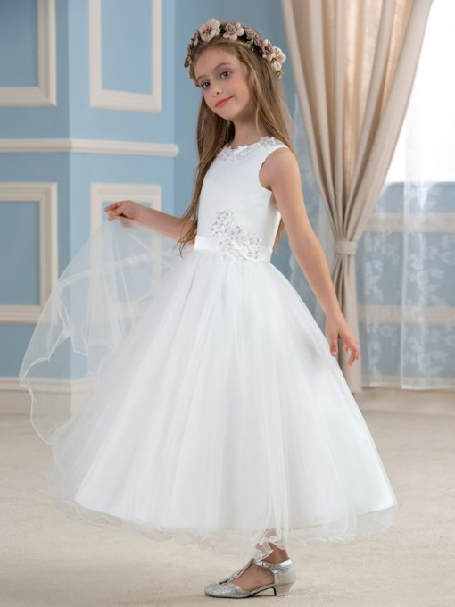 Appliques Ankle-Length Jewel Neck A-Line Flower Girl Dress