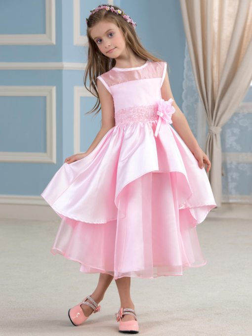 Jewel Matte Satin Tea-Length Flower Girl Dress