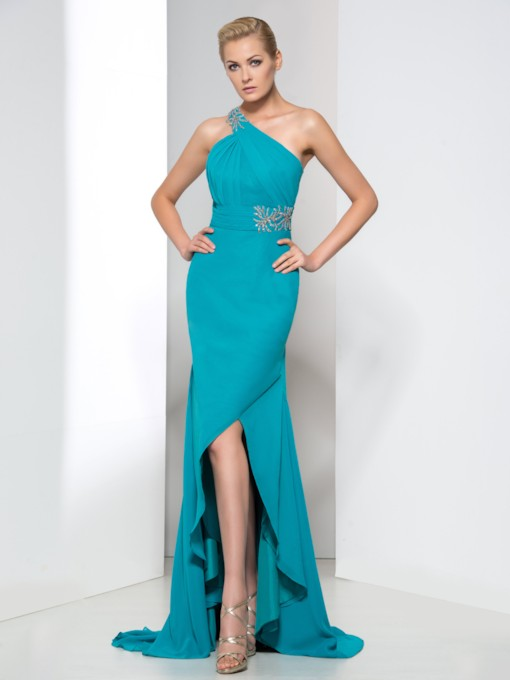 One-Shoulder Pleats Appliques Evening Dress