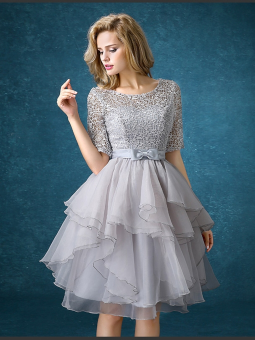 Half Sleeve Lace Knee-Length Bridesmaid Dress