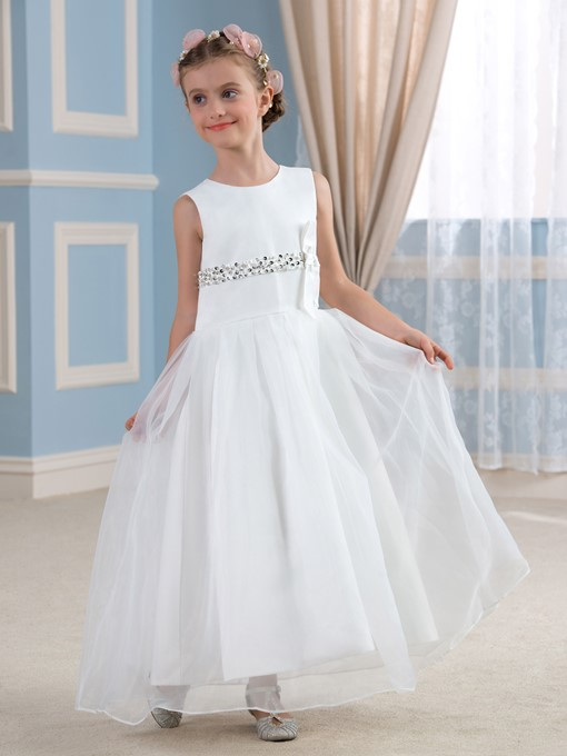 Sleeveless Beaded A-Line Ankle-Length Flower Girl Dress