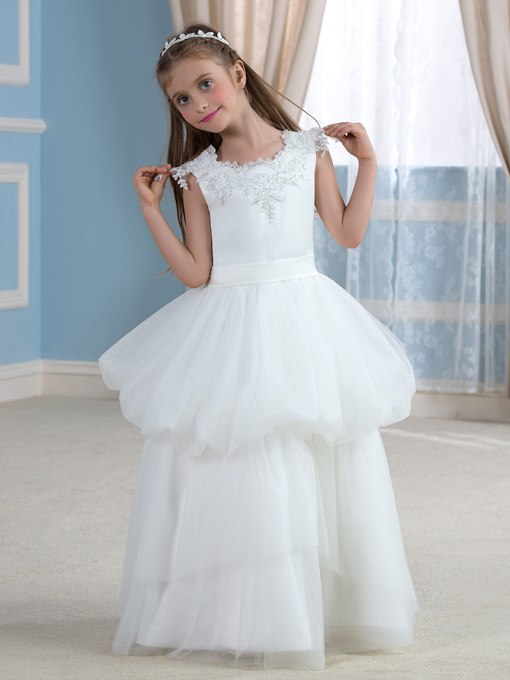 Appliques Lace Tulle A-Line Flower Girl Dress