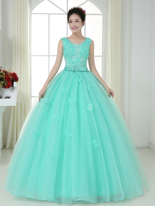 Scoop Bow Flowers Beading Quinceanera Dress