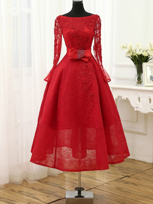 Long Sleeve Bowknot Beading Lace Evening Dress