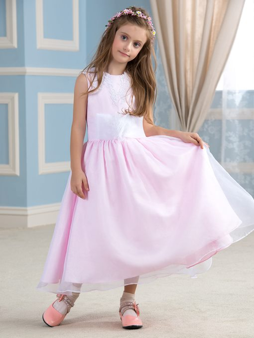 Appliques Lace Ribbon Tea-Length Flower Girl Dress