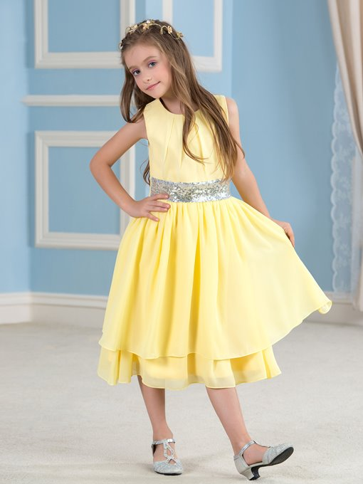 Sequins Pleats Jewel Neck Tea-Length Flower Girl Dress