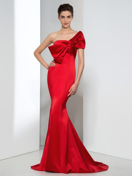 Strapless Bowknot Mermaid Long Evening Dress