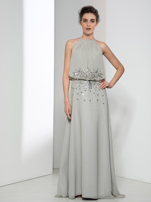 Jewel Neck Sequins A-Line Beaded Long Evening Dress