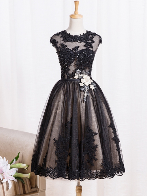 Sheer Neck Lace Appliques Cocktail Dress