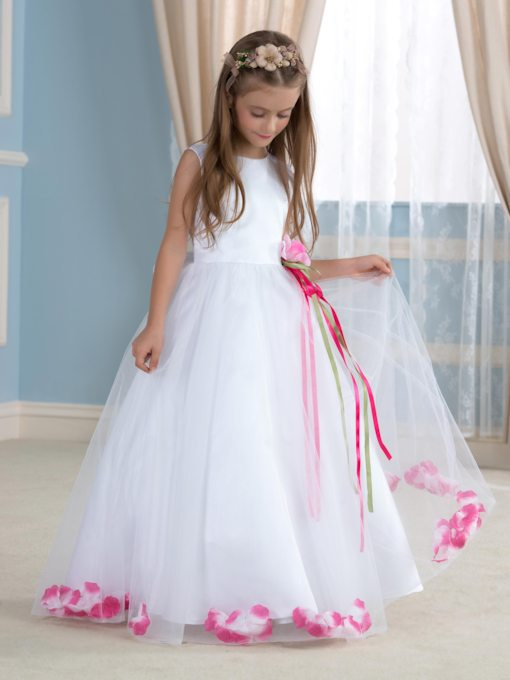 A-Line Floor-Length Floral Embellishments Tulle Flower Girl Dress