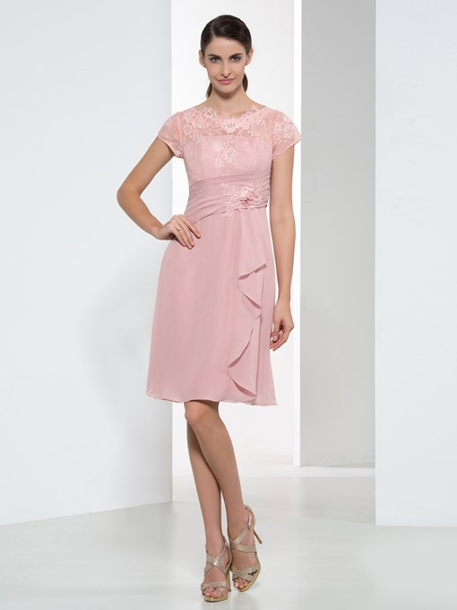 Knee-Length Short Sleeves Lace Chiffon Short Bridesmaid Dress