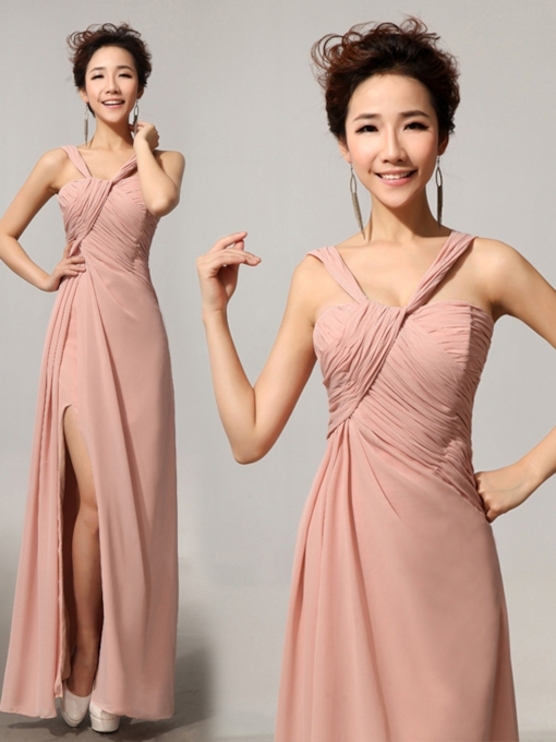 Split-Front Pleats Chiffon Floor-Length Bridesmaid Dress