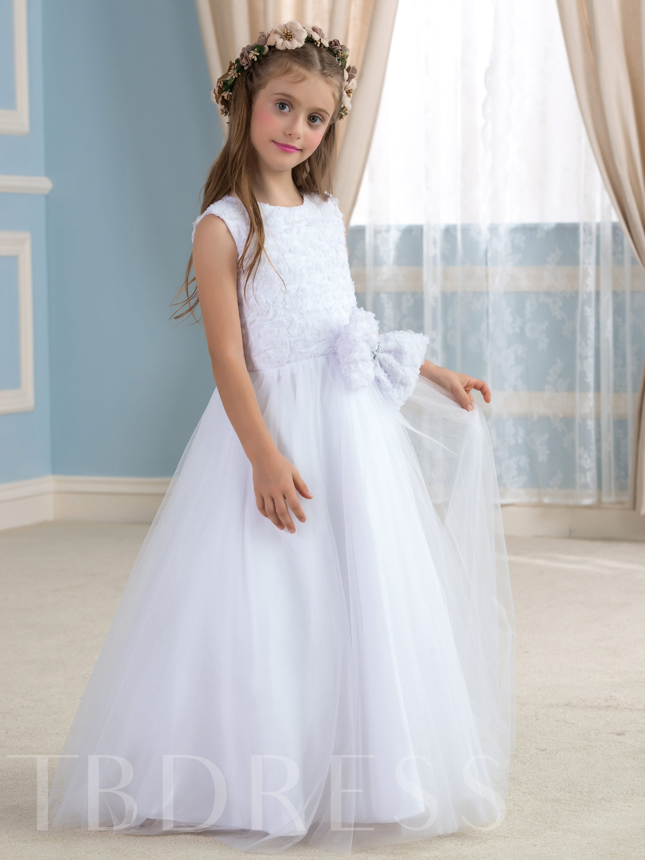 Image of A-Line Floor-Length Tulle Flower Girl Dress
