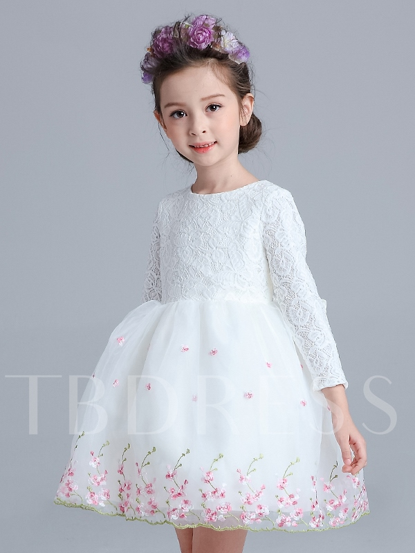 Image of Long Sleeve Bowknot Lace Girl`s Party Dress