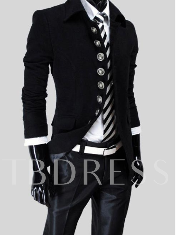 Lapel Single-Breasted Long Sleeve Men's Trench Coat