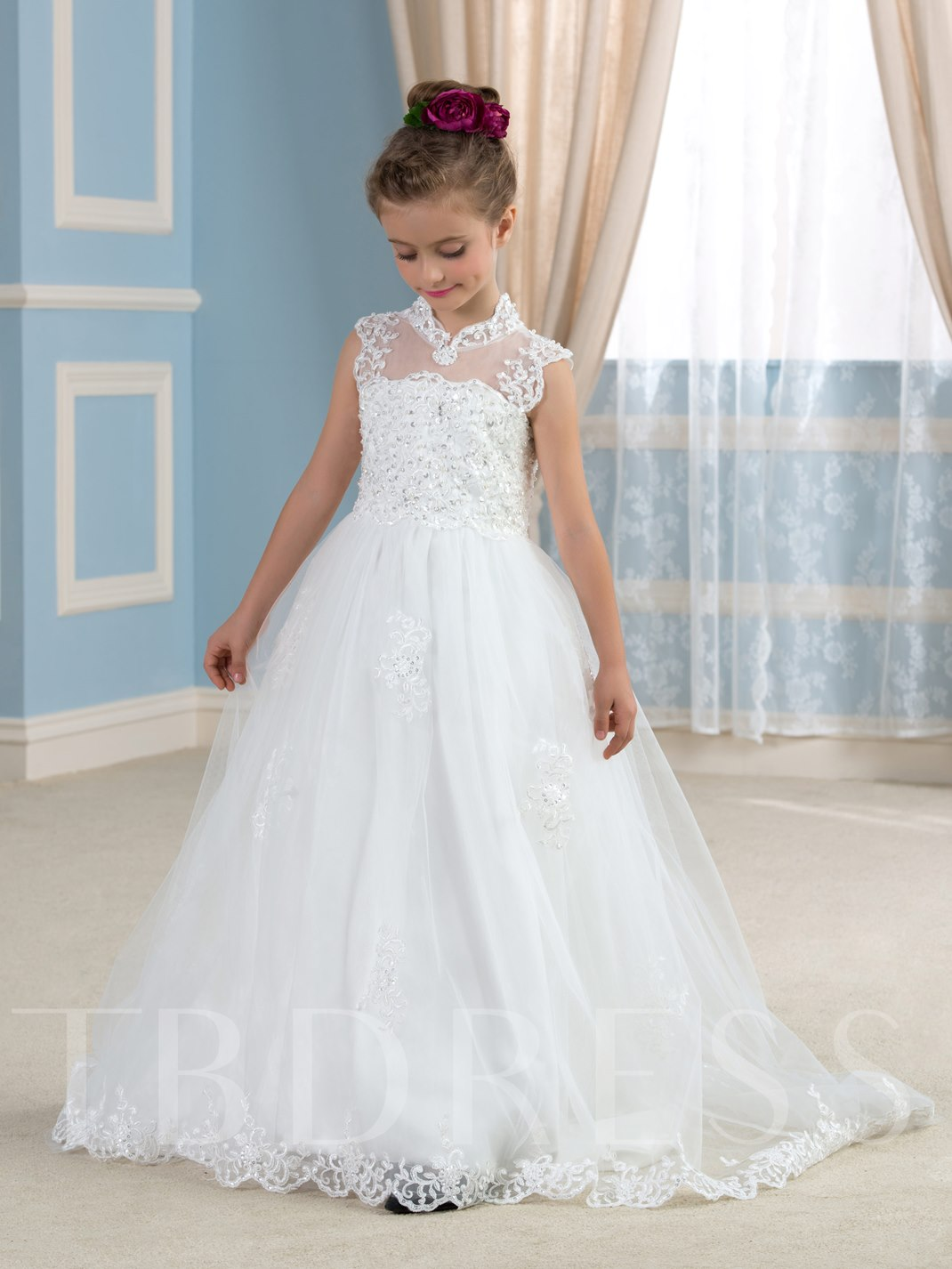 Keyhole Back Appliques Tulle Wedding Flower Girl Dress