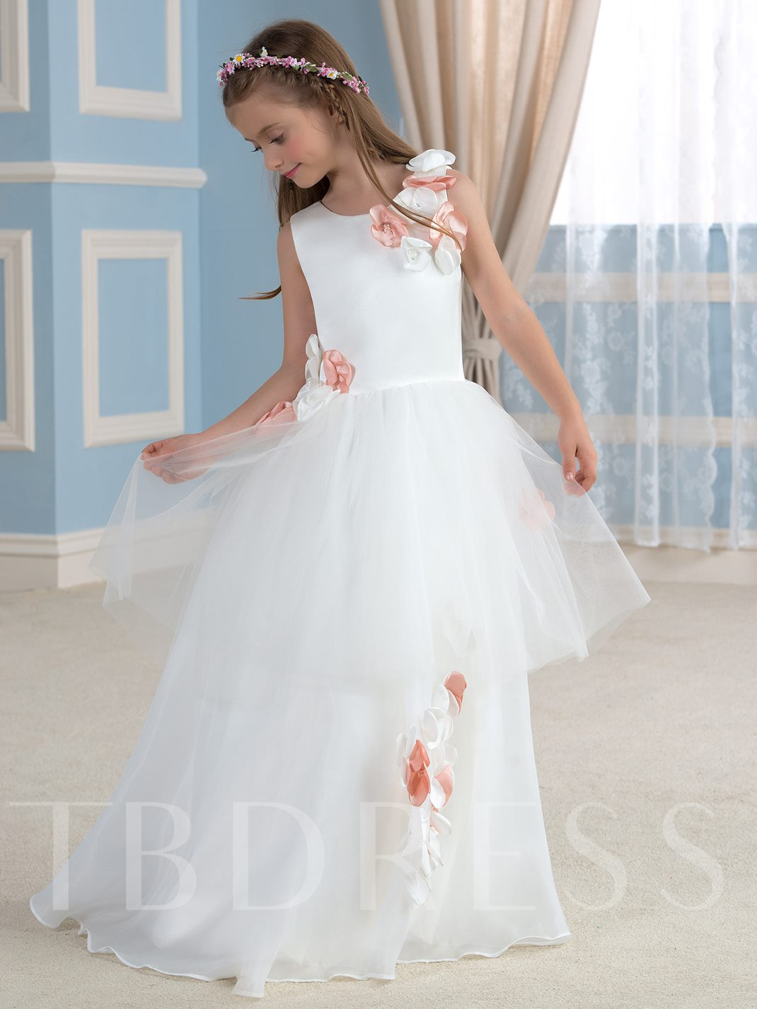 Flowers Floor-Length Tulle