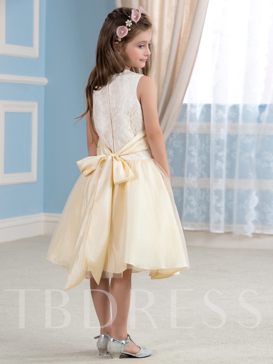 Pearls Neck Lace Flower Tea Length Flower Girl Dress Tbdress