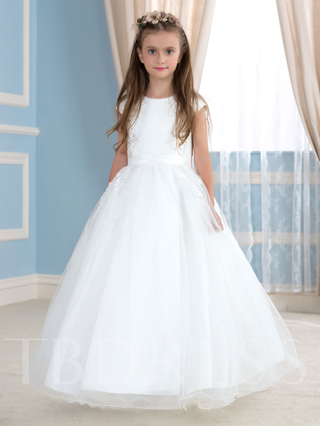 Lace Beading Tulle Ball Gown Flower Girl Dress - Tbdress.com